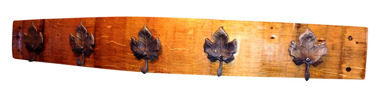 Alpine Wine Design - Grape Leaf Coat Rack - Here's a coatrack that speaks to your great taste — in wine and in decor. Hand-crafted from the wood of an old Napa Valley wine barrel, it features grape leaf hooks sure to tickle your oenophile fancy.