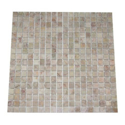 Lotus Pink Tea Rose Polished Pattern Mesh-Mounted Marble Tiles - .6 in. x .6 in. Lotus Pink Tea Rose Mesh-Mounted Square Pattern Marble Mosaic Tile is a great way to enhance your decor with a traditional aesthetic touch. This polished mosaic tile is constructed from durable, impervious marble material, comes in a smooth, unglazed finish and is suitable for installation on floors, walls and countertops in commercial and residential spaces such as bathrooms and kitchens.