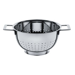 "Alessi - Alessi ""Pots Pans"" Colander - Is your old, frumpy strainer getting you down? Let this sleek, modern colander sieve the day. It's made of mirror-polished, 18/10 stainless steel that glistens like the olive oil you're heating for your pasta dish. It has two handles and a rimmed foot to elevate your culinary prowess."