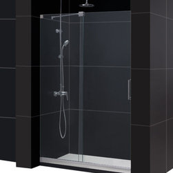 """DreamLine - DreamLine Mirage Frameless Sliding Shower Door and SlimLine 36"""" by - This kit pairs a MIRAGE sliding shower door and coordinating SlimLine shower base to completely transform a shower space. The MIRAGE uses innovative hardware to provide the space-saving benefits of a sliding door without compromising the beauty of a completely frameless glass design. A coordinating SlimLine shower base completes the picture with a sleek low profile design. DreamLine shower kits deliver an efficient yet elegant solution with the look of custom glass at an exceptional value.  Items included: Mirage Shower Door and 36 in. x 48 in. Single Threshold Shower BaseOverall kit dimensions: 36 in. D x 48 in. W x 74 3/4 in. HMirage Shower Door:,  44 - 48 in. W x 72 in. H ,  3/8 (10 mm) thick clear tempered glass,  Chrome or Brushed Nickel hardware finish,  Frameless glass design,  Width installation adjustability: 44 - 48 in.,  Out-of-plumb installation adjustability: No,  Unique fully frameless sliding shower door design,  One sliding panel with one stationary panel,  Aluminum bottom guide rail may be shortened by cutting up to 4"""",  Door opening: 16 - 20 in.,  Stationary panel: 23 1/2 in.,  Reversible for right or left door opening installation,  Material: Tempered Glass, Aluminum, Brass ,  Tempered glass ANSI certified36 in. x 48 in. Single Threshold Shower Base:,  High quality scratch and stain resistant acrylic,  Slip-resistant textured floor for safe showering,  Integrated tile flange for easy installation and waterproofing,  Fiberglass reinforcement for durability,  cUPC certified,  Drain not includedProduct Warranty:,  Shower Door: Limited 5 (five) year manufacturer warranty ,  Shower Base: Limited lifetime manufacturer warranty"""
