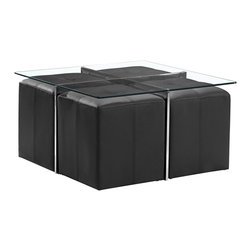 """Zuo - Zuo Botero Coffee Table and Set of 4 Nesting Stools - The Botero modern coffee table set is a smart option for the smaller contemporary living space. Four padded black leatherette stools nest neatly below the table when not in use. The square coffee table features chrome steel legs and a tempered clear glass top that is stylish with or without the stools nested beneath it. Design by Zuo Modern. Five piece set. Chrome finish steel legs. Tempered clear glass top. 4 padded black leatherette stools. Table is 34"""" wide 34"""" deep and 19"""" high. Stools are 17 1/2"""" high 16"""" wide and 16"""" deep.  Five piece set.   Chrome finish steel legs.   Tempered clear glass top.   4 padded black leatherette stools.   Some assembly required.  Table is 34"""" wide 34"""" deep and 19"""" high.   Stools are 17 1/2"""" high 16"""" wide and 16"""" deep."""
