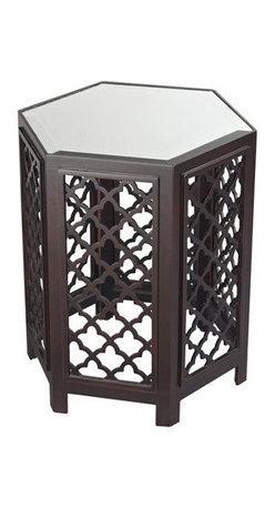 Sterling Industries - Sterling Industries 51-10129 Marrakesh Tables in Dark Bronze - Marrakesh-Moorish Pattern Side Table With Mirrored Top