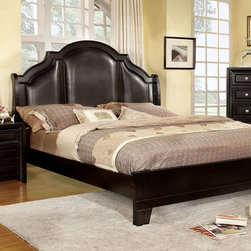 Furniture of America - Furniture of America Crown Leatherette 3-piece Bedroom Set - A platform bed in transitional style is the center of this bedroom suite collection. The crown headboard with padded leatherette upholstery is eye-catching,and silver furniture accents also provide visual interest.