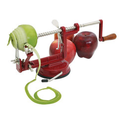 HomeStart - HomeStart Apple and Potato Peeler - Using an easy, straightforward crank operation, it cores, peels, and slices apples into perfect snacks or recipe ingredients. Using a suction base, it stays firmly planted on the countertop, and its slices are perfectly sized and proportion, making them great for apple pies and pastries, or before/after dinner snack. -- Peel, Slice and Core Apples -- Peel potatoes -- Sturdy enamel-coated cast-iron body -- Includes hand-crank and clamp with ABS plastic handles. -- This solid, basic tool for any kitchen, HomeStart Professional garlic press makes a great gift.