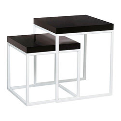 Tema Home - Prairie Niche 22 End Tables, White - Graphic end tables that nestle or stagger depending on your needs. Glossy-lacquered top and legs can be customized in either black and white, white and black or white all over. Have fun with how seamlessly they blend into your space.