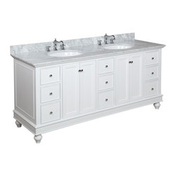 Kitchen Bath Collection - Bella 72-in Bath Vanity (Carrara/White) - This bathroom vanity set by Kitchen Bath Collection includes a white cabinet with soft close drawers and self-closing door hinges, Italian Carrara marble countertop, double undermount ceramic sinks, pop-up drains, and P-traps. Order now and we will include the pictured three-hole faucets and a matching backsplash as a free gift! All vanities come fully assembled by the manufacturer, with countertop & sink pre-installed.
