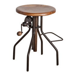 Adjustable Hand Crank Bar Stool - Product Features: