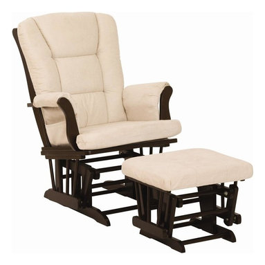 Storkcraft - Tuscany Glider & Ottoman in Espresso Finish with Beige Cushion - Perfect for gliding you into a calm, tranquil state.