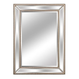 "Lofty - Mercer Diamond SlvrMirror32x44 - Lofty Mercer LJ017S1 Diamond Silver Wood Framed Mirror  4 mm thickness  1"" Bevelled Silver Mirror  Metal Hangers  MDF Backboard  Includes Hangers  Screw Bag  Wire. Dimensions: 29.9"" x 41.7"" x 2""  Add a touch of refinement to any room with a Mercer wood frame mirror. Each mirror is bordered by finely crafted wood with a lustrous  deep finish. The Mercer wood frame allows you to add contemporary elegance with an old-world feel -- perfect for any room of the house. Pair with a dresser in a bedroom  or place on top of buffet in the dining room to add depth and dimension to your home.  This item cannot be shipped to APO/FPO addresses. Please accept our apologies."