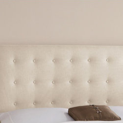 "Skyline Furniture - Nail Button Tufted Cotton Wingback Headboard - This wingback headboard sets a modern feel with its unique design. It's upholstered in lush velvet and embellished with button tufts and individual pewter nail buttons along the wings. It's guaranteed to be a focal point of any bedroom. Attaches to any standard bed frame. Features: -Nail Button Tufted collection. -Color: Chambers Chalk. -Solid pine frame. -Metal legs, polyurethane and polyester fill foam. -Excludes fabric. -Spot clean only. -Handmade. -1 Year limited warranty. -Made in the USA. Dimensions: -Full: 56"" H x 61.5"" W x 8"" D, 56 lbs. -Queen: 56"" H x 67.5"" W x 8"" D, 61 lbs. -King: 56"" H x 83.5"" W x 8"" D, 68 lbs. -California King: 56"" H x 79.5"" W x 8"" D, 63 lbs."