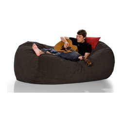 """jaxx - Bean Bag Sofa - Black and Espresso Velvish on sale now! Features: -100% Shredded furniture grade urethane foam / nylon liner / polyester microsuede / premium microfiber exterior cover.-Designer bean bag lounger.-Comfortable seating options for kid's rooms, family rooms, home theaters and dorms.-Liners are nylon rip stock with a child safety zipper.-Covers zip off for machine washing.-More plush and far more portable than a loveseat or recliner.-Moves with every twist and turn providing support to any lounging or seating position.-It takes you peacefully into the night.-Seats one comfortably.-Chic removable cover in designer textile for modern living spaces and loft dwellers.-Earth friendly.-Made in the USA.-Collection: Jaxx Bean Bags.-Distressed: No.-Country of Manufacture: United States.-Material: Microsuede.-Fill Included: Yes -Fill Material: Urethane foam..-Removable Cover: Yes.-Product Care: Removable cover: machine wash cold, tumble dry..Dimensions: -Overall Product Weight: 65.1 lbs.-Overall Height - Top to Bottom: 36"""".-Overall Width - Side to Side: 64"""".-Overall Depth - Front to Back: 47"""".Warranty: -Product Warranty: 1 year manufacturer parts warranty."""