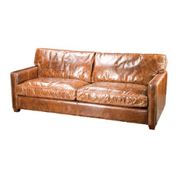 "Four Hands - Larkin 88"" Sofa, Cigar - Make a true style statement with this classically elegant sofa. Inspired by the libraries of turn-of-the-century American aristocracy, it's crafted from the finest, top-grain, aniline-dyed leather for quality and comfort."