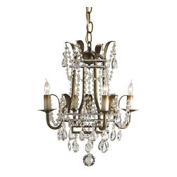 Currey and Company - Laureate Mini Chandelier - Delightful with its lavish dressing of crystal chains, this petite chandelier is perfect for the powder room or anyplace that needs a small accent chandelier.