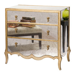 Kathy Kuo Home - Corinne Hollywood Regency French Mirrored Dresser - This piece isn't on the wall, but it definitely is the fairest of them all. Expertly constructed from sustainably harvested wood, this dresser gets its detailing from fine French antiques, with aged mirror panels, gilded edging and brass teardrop drawer pulls.