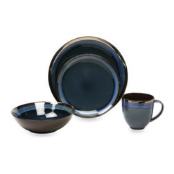 Baum - Baum Compass 16-Piece Dinner Set in Cobalt - Ceramic dinnerware collection in a sophisticated dark cobalt blue, with artful contrasting stripes that add a touch of rustic charm.