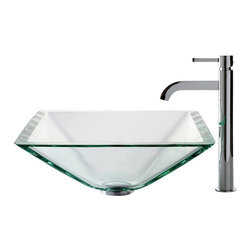 Kraus - Kraus C-GVS-901-19mm-1007SN Clear Aquamarine Glass Vessel Sink and Ramus Faucet - Add a touch of elegance to your bathroom with a glass sink combo from Kraus