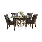 American Drew - American Drew Bob Mackie 7 Piece Round Glass Dining Room Set - Soft gentle shapes, unique patterns, a mixture of materials and elegant details all describe the unique elements that are synonymous with a Bob Mackie gown; and these motifs are evident in the Bob Mackie Home? Signature Collection by American Drew. The Signature collection is a fresh twist on classic designs. The inspiration and story is the creative use of materials and veneer work. The finish is a beautiful Rosewood color with veneer details in Primavera, Ebony, Walnut Burl, Mahogany and Cherry. Black Granite, Antiqued Mirror and Golden color accents add depth, drama and sparkle to this collection. Ribbon, lace, feather and starburst motifs add the 'dare to be noticed' flair to this group. Custom designed jewelry-like hardware, pierced brass collars and brass feet on selected items add a fine, finished look to each piece.