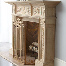 "Horchow - French Mantel - Exclusively ours. Stately mantel dressed in ornate scrolls brings romance to the hearth indoors or out. Handcrafted of crushed stone. Hand-painted lacquer finish. Outdoor safe. 72""W x 15""D x 50""T overall; inside opening, 34.75""W x 15""D x 32.75""T....."