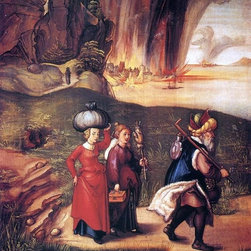 "Albrecht Durer Lot Fleeing with his Daughters from Sodom   Print - 16"" x 20"" Albrecht Durer Lot Fleeing with his Daughters from Sodom premium archival print reproduced to meet museum quality standards. Our museum quality archival prints are produced using high-precision print technology for a more accurate reproduction printed on high quality, heavyweight matte presentation paper with fade-resistant, archival inks. Our progressive business model allows us to offer works of art to you at the best wholesale pricing, significantly less than art gallery prices, affordable to all. This line of artwork is produced with extra white border space (if you choose to have it framed, for your framer to work with to frame properly or utilize a larger mat and/or frame).  We present a comprehensive collection of exceptional art reproductions byAlbrecht Durer."