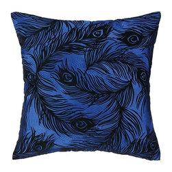 Nanette Lepore - Nanette Lepore Peacock Cobalt Pillow - Peacock Cobalt Embroidered Pillow Df by Nanette Lepore