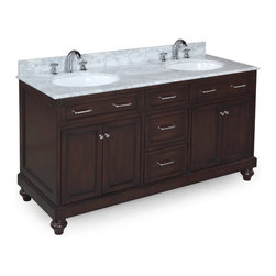 Kitchen Bath Collection - Amelia 60-in Double Sink Bath Vanity (Carrara/Chocolate) - This bathroom vanity set by Kitchen Bath Collection includes a chocolate cabinet, soft close drawers, self-closing door hinges, Italian Carrara marble countertop with stunning beveled edges, double undermount ceramic sinks, pop-up drains, and P-traps. Order now and we will include the pictured three-hole faucets and a matching backsplash as a free gift! All vanities come fully assembled by the manufacturer, with countertop & sink pre-installed.