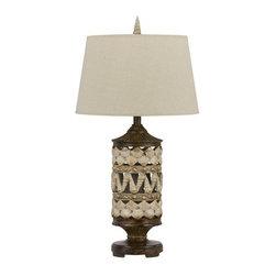 Cal Lighting - Cal Lighting BO-2477TB Padre 1 Light Pedestal Base Table Lamp - Features: