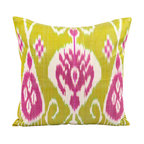 """Uzbek Cheer - 16"""" Ikat Pillow Cover - P-A406-3AA1 - Add some charm to your contemporary or traditional interior with this chartreuse green, magenta and white Ikat pillow cover, constructed out of hand woven Ikat fabric from Uzbekistan."""