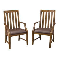 Home Styles - Home Styles Arts & Crafts Game Chair Pair - Home Styles - Poker Table Chairs - 5900812 - The Arts & Crafts Game Chair is constructed of hardwood solids and oak veneers in a multi-step distressed Oak finish with a Brown vinyl cushioned seat.  Sold two per pack.
