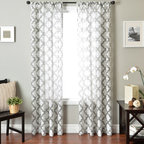Blindsgalore Signature Drapery Panel: Penrose Sheer Burnout - A traditional pattern gets a contemporary twist on our Penrose Burnout sheer drapery panel. With just enough color to accentuate your décor, these sheer panels will softly filter light and look beautiful alone or paired with a blind or shade. Drapery panels from Blindsgalore offer premium style and quality at a discount price.
