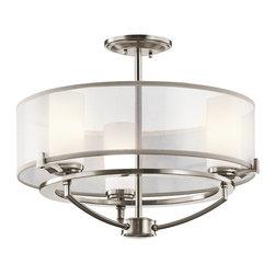 Kichler Lighting - Kichler Lighting 42923CLP Saldana Modern / Contemporary Semi Flush Mount Ceiling - Kichler Lighting 42923CLP Saldana Modern / Contemporary Semi Flush Mount Ceiling Light