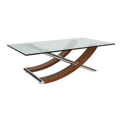"White Line Imports - Robin Natural Walnut Veneer Coffee Table - This sleek and exciting coffee table by White Line Imports features 1/2"" clear tempered glass top, natural walnut veneer base and chrome legs for modern appeal."