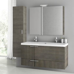 ACF - 47 Inch Grey Oak Bathroom Vanity Set - This 47 inch vanity set was manufactured and designed in Italy by ACF. It has a contemporary theme made for the master bathroom. The set includes 4 pieces: vanity cabinet, wide bathroom sink, lighted medicine cabinet, and tall storage cabinet. It is wall mounted set that comes in a gray oak finish. Set Includes:. Vanity Cabinet (2 Doors,2 Drawers). High-end fitted ceramic sink. Wall mounted medicine cabinet. Vanity Set Features . Vanity cabinet made of engineered wood. Cabinet features waterproof panels. Vanity cabinet in grey oak finish. Cabinet features 2 doors, 2 soft-closing drawers. Faucet not included. Perfect for modern bathrooms. Made and designed in Italy. Includes manufacturer 5 year warranty.
