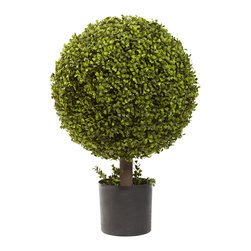 "Nearly Natural - Nearly Natural 27"" Boxwood Ball Topiary - Boxwood is one of the more versatile hedge plants out there. That's because it can be shaped into just about anything and still look great. And we've lovingly reproduced the classic Boxwood look, complete with soft, green leaves, and shaped it into a timeless Ball Topiary. Complete with a pot, this Boxwood will never outgrow its shape, and will never need water."