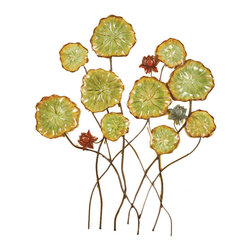 Welcome Home Accents - Pressed metal flowers wall decor - Metal 3-d floral  wall art in an oil rubbed bronze finish will liven up any room. Features bronze stems and hand painted green and burgundy pressed metal flowers. Hooks on back for easy hanging.