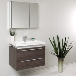 Fresca - Medio Modern Bathroom Vanity w Medicine Cabinet (Bevera Chrome) - Choose Included Faucet: Bevera ChromeSingle Hole Faucet Mount (Faucet Shown In Picture May No Longer Be Available So Please Check Compatible Faucet List). Soft Closing Drawers. P-trap, Faucet, Pop-Up Drain and Installation Hardware Included. With overflow. Sink Color: White. Finish: Gray Oak. Sink Dimensions: 26.5 in. x12.13 in. x3.75 in. . Medicine Cabinet: 29.5 in. W x 26 in. H x 5 in. D. Materials: MDF with Acrylic Countertop/Sink with Overflow. Vanity: 31.38 in. W x 18.75 in. D x 24 in. HStriking in its simplicity, this vanity offers modern sophistication to your bathroom. This vanity is wall mounted with two pull out drawers for storage. Fits virtually anywhere!