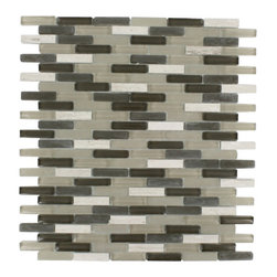 "Nexus Baci Mini Brick - Nexus Baci Mini Brick Glass + Stone Tile The glass and stone combination creates a beautifully multidimensional effect. It is great to install in kitchen back splashes, and any decorated spot in your home. The mesh backing not only simplifies installation, it also allows the tiles to be separated which adds to their design flexibility. Chip Size: 3/8"" x 1 5/8"" Color: Dark Olive and Khaki Material: Glass and Wooden Beige Finish: Polished and Frosted Sold by the Sheet - each sheet measures 10""x11 1/2""(0.8 sq. ft.) Thickness: 8mm"