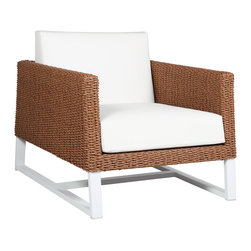 Mamagreen - Baia Sofa 1-Seater - The Baia Sofa 1-Seater combines highly weather resistant powder coated aluminum with durable Wicker. Displaying intelligent design, Baia Sofa is true outdoor luxury. Available in a variety of stamskin and sunbrella cushions.