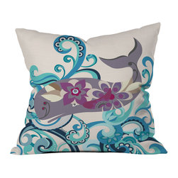 DENY Designs - Valentina Ramos Whale Blossom Outdoor Throw Pillow - Do you hear that noise? It's your outdoor area begging for a facelift and what better way to turn up the chic than with our outdoor throw pillow collection? Made from water and mildew proof woven polyester, our indoor/outdoor throw pillow is the perfect way to add some vibrance and character to your boring outdoor furniture while giving the rain a run for its money. Custom printed in the USA for every order.