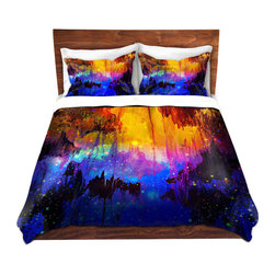 DiaNoche Designs - Duvet Cover Microfiber by Julia Di Sano - Misty Cavern - DiaNoche Designs works with artists from around the world to bring unique, artistic products to decorate all aspects of your home.  Super lightweight and extremely soft Premium Microfiber Duvet Cover (only) in sizes Twin, Queen, King.  Shams NOT included.  This duvet is designed to wash upon arrival for maximum softness.   Each duvet starts by looming the fabric and cutting to the size ordered.  The Image is printed and your Duvet Cover is meticulously sewn together with ties in each corner and a hidden zip closure.  All in the USA!!  Poly microfiber top and underside.  Dye Sublimation printing permanently adheres the ink to the material for long life and durability.  Machine Washable cold with light detergent and dry on low.  Product may vary slightly from image.  Shams not included.