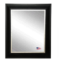Rayne Mirrors - Rayne Stately Black and Aged Silver Wall Mirror, 30.5 X 36.5 - This large handsome wall mirror has a clean and crisp look that will be a refined addition to a bedroom or bathroom area.  This 3.5 inch wooden frame features a traditional profile with an aged silver liner.