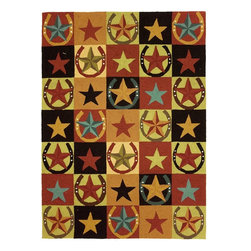 Homefires - Southwestern/Lodge Western Stars & Horseshoes 8'x10' Rectangle Red Area Rug - The Western Stars & Horseshoes area rug Collection offers an affordable assortment of Southwestern/Lodge stylings. Western Stars & Horseshoes features a blend of natural Red color. Hand Hooked of Polyester the Western Stars & Horseshoes Collection is an intriguing compliment to any decor.