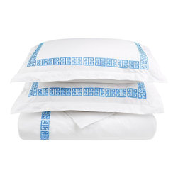 Kendell Twin XL Duvet Cover Set Cotton - White/Light Blue - The Kendell Duvet Cover set features an embroidery pattern that is signature to the Kendell Collection. The Duvet Cover matches well with other items from the Kendell collection but it can also be mixed and matched with other bedding accessories to create a unique customized look for your bedroom.