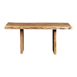 """Artemano - Freeform Acacia Dining Table With Wooden Legs, 70"""" L X 36"""" W X 30"""" H - Three solid, heavy slabs of acacia wood are assembled to create a unique table inspired by nature. Easily adaptable to rustic and contemporary design styles, among others. Each live edge acacia dining table has its own freeform lines and curves; they are also each unique with markings, knots, breaches and crevasses. Available in three sizes."""