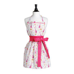 Jessie Steele Bubbly Celebration Front Tie Viola Apron - The Viola body combines flirty and functional for any hostess and features a wide waistband, side pocket, gathered skirt, and full-coverage bib. To turn the fun up a notch, the chic waist bow on the Bubble Celebration Viola Apron ties in front!
