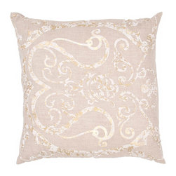 """Jaipur Rugs - Taupe/Ivory color linen hash poly fill pillow 20""""x20"""" - Bruxelles is a high end linen pillow with embroidered and metallic accents.  Sophisticated and impeccably detailed."""