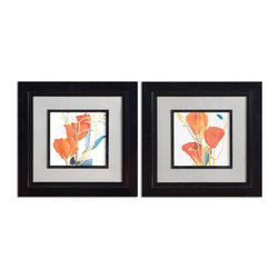 Uttermost - Red Grandiflorum Floral Art Set of 2 - Bring a refreshing springtime vibe to your decor. This set of vibrant tulip prints is beautifully set off by black satin frames and gray mats.