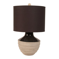 """Lazy Susan - Corrugated Trophy Lamp With Black Fabric Shade - -9"""" Harp"""