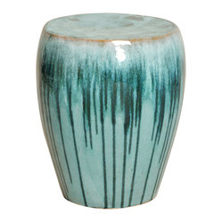Turquoise Teal Drip Simple Ceramic Garden Seat Stool