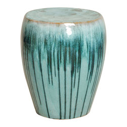 Kathy Kuo Home - Turquoise Teal Drip Coastal Beach Simple Ceramic Garden Seat Stool - Traditionally used in China as tea tables- these garden stools make a perfect addition to your living space as side tables, or clustered together to be used as a coffee table.  Glazes are triple fired for added luster and shine.  With a hand made product, glaze variations of up to 10% is to be expected.