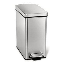 simplehuman - simplehuman 10 Liter Profile Step Can - simplehuman's Profile Step Can has a removable inner bucket that lifts out for easy trash disposal. This trash can is designed to fit most plastic grocery bags. The 10-liter can is perfect for small spaces.